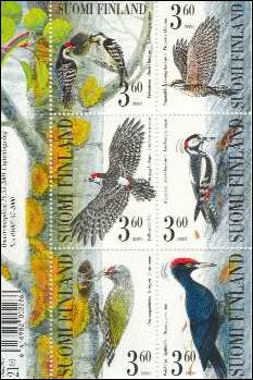 A very nice sheet with six stamps of woodpeckers was issued by the Finnish post on 16 May 2001