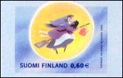 Flying witch on Easter stamp