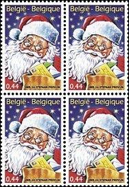 Kerstman op Belgische postzegel
