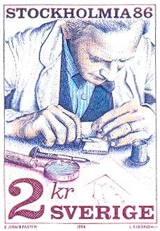 Graveur op postzegel uit Zweden