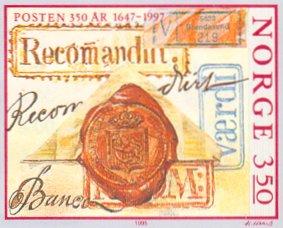 Lakzegel op postzegel uit Noorwegen
