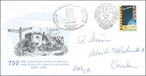 Arnhem en Emmerich 750 jaar stadsrechten
