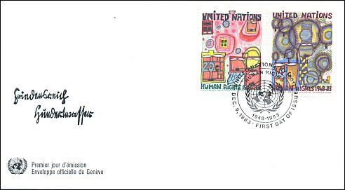 Friedensreich Hundertwasser postzegels VN