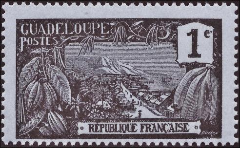 Franse postzegel over Guadeloupe