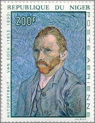 Niger postzegel met Vincent van Gogh
