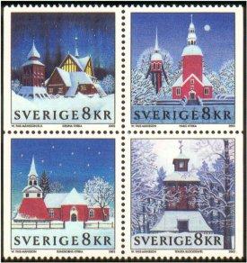 Romantische kerken in kersttooi