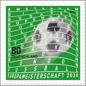 EK voetbal 2021 op Duitse postzegel