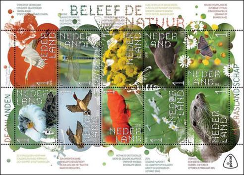 Moerasgebied Onlanden op postzegels