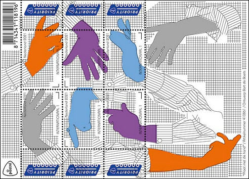 Praat met de hand op postzegels