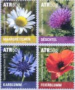 Rolzegels met Bloemen uit Luxemburg