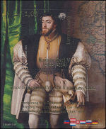 Keizer Karel V op Luxemburgs postzegelblokje