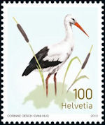 Ooievaar op postzegel