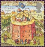 Theater van Shakespeare op Britse postzegel